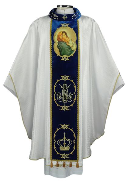 Casula branca com galão em veludo azul e gola bordada - bordado da Nossa Sra Mãe da Divina Providência