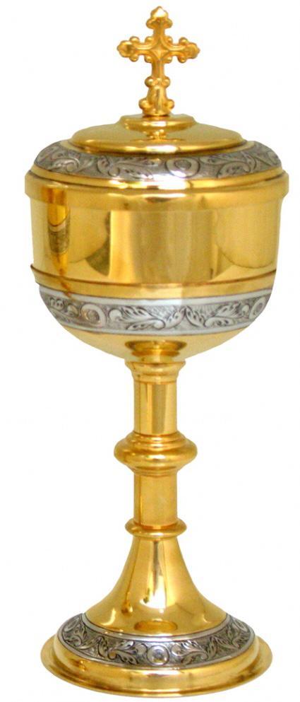 Cibório trabalhado - dourado ou niquelado - altura 18,5cm - diâmetro da copa 7cm - capacidade para 80 partículas