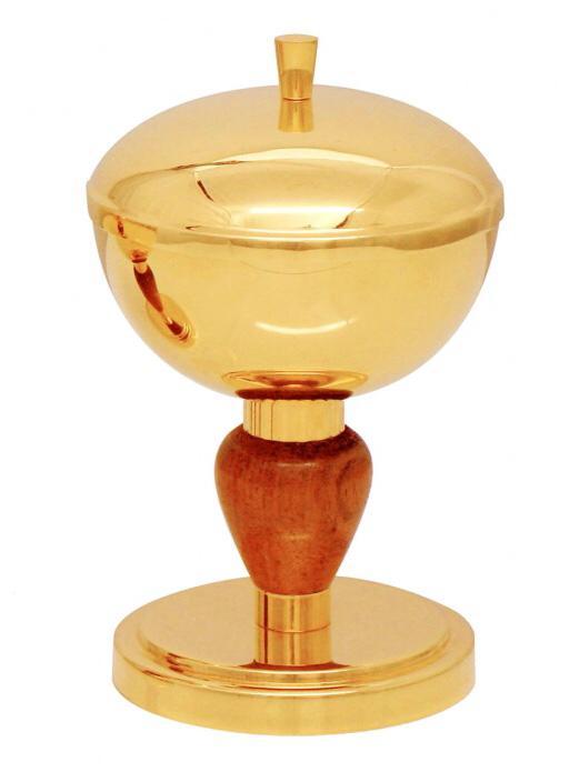 Cibório com nó de madeira - dourado ou niquelado - altura 17cm - diâmetro da copa 10cm - capacidade para 180 partículas