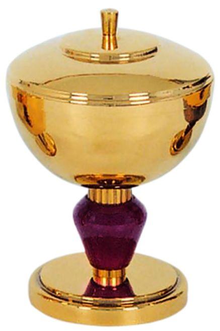 Cibório com nó de madeira - dourado ou niquelado - altura 18cm - diâmetro da copa 11,5cm - capacidade para 300 partículas