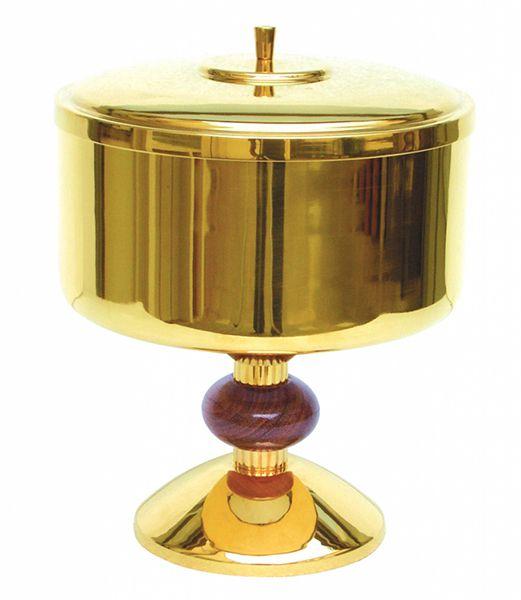 Cibório com nó de madeira no pé- dourado ou niquelado - altura 24cm - diâmetro da copa 18cm - capacidade para 1200 partículas