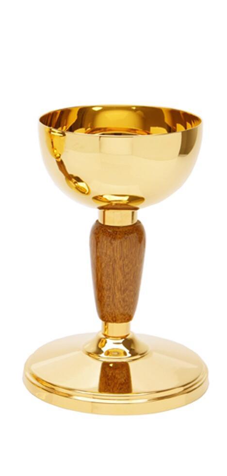 Cibório com detalhe em madeira - dourado ou niquelado - altura 20cm - diâmetro da copa 10cm - capacidade para 250 partículas