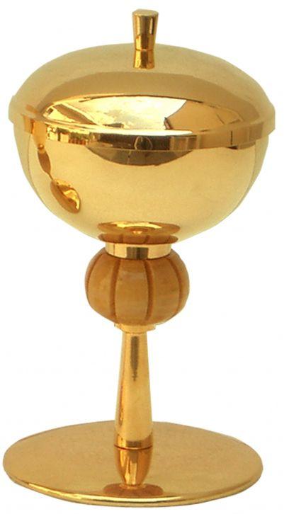 Cibório com nó de madeira - dourado ou niquelado - altura 17cm - diâmetro da copa 11cm - capacidade para 250 partículas