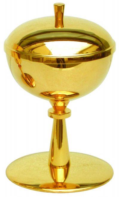 Cibório - dourado ou niquelado - altura 18cm - diâmetro da copa 10cm - capacidade para 250 partículas