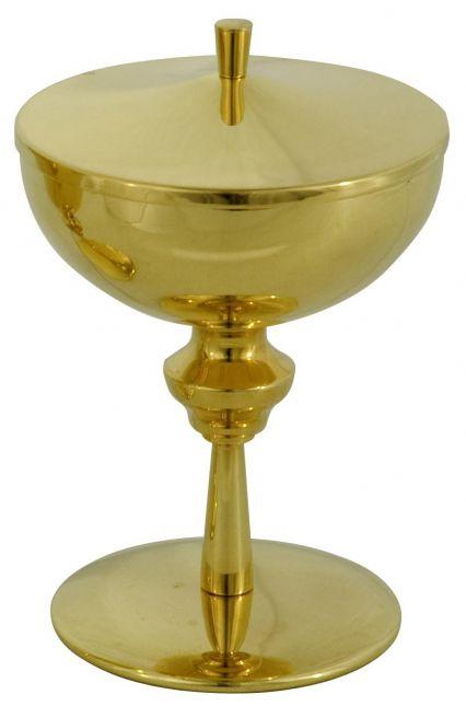 Cibório - dourado ou niquelado - altura 21cm - diâmetro da copa 12cm - capacidade para 300 partículas