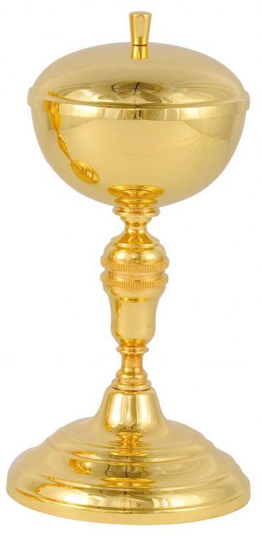 Cibório - dourado ou niquelado - altura 22cm - diâmetro da copa 10cm - capacidade para 150 partículas