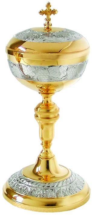Cibório trabalhado - dourado ou niquelado - altura 22cm - diâmetro da copa 10cm - capacidade para 150 partículas
