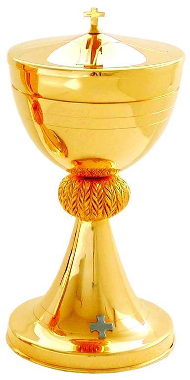 Cibório com detalhe de nó - dourado ou niquelado - altura 23,5cm - diâmetro da copa 12,5cm - capacidade para 250 partículas