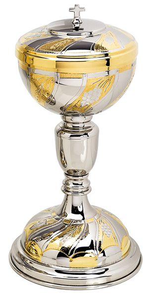 Cibório trabalhado - dourado ou niquelado - altura 26cm - diâmetro da copa 11cm - capacidade para 500 partículas