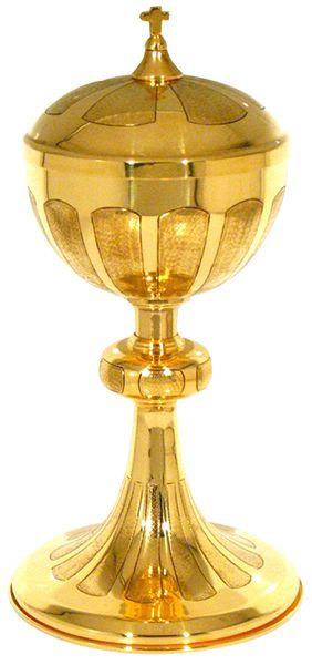 Cibório - dourado ou niquelado - altura 26cm - diâmetro da copa 11cm - capacidade para 300 partículas