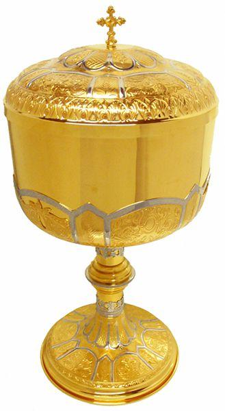 Cibório - dourado ou niquelado - altura 33cm - diâmetro da copa 22,5cm - capacidade para 3000 partículas