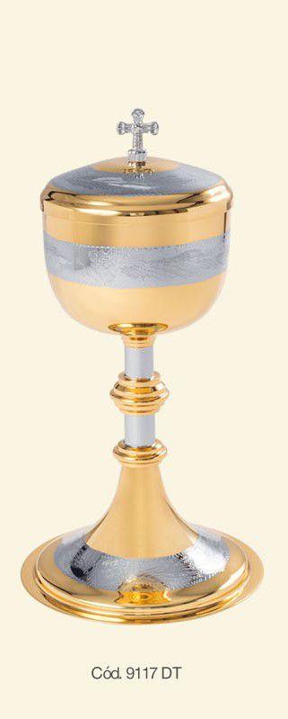 Cibório detalhe UVA - dourado total - 20,3x8,6cm - capacidade para 125 partículas