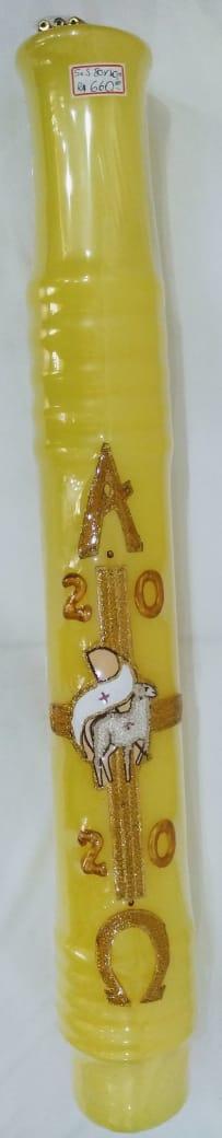 Círio Pascal 2020 com apliques em resina - Cordeiro - 80 x 10 (acompanha cravos)