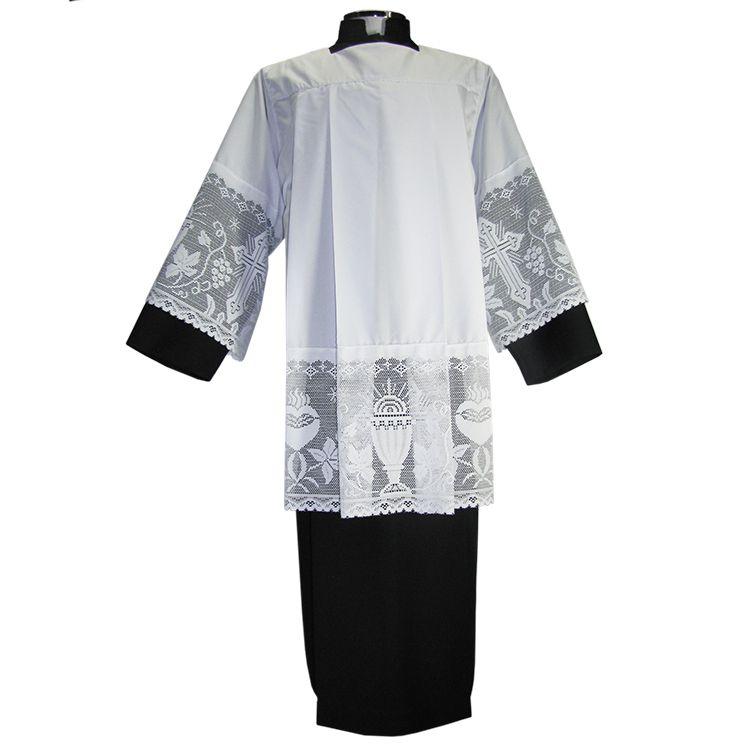 Conjunto completo para acólito - túnica, sobrepeliz e protetor de colarinho