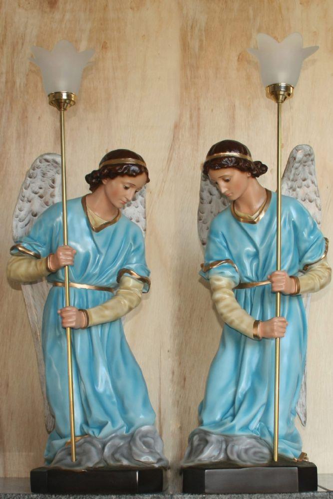Conjunto Anjos Adoradores 78cm AZUL - Resina