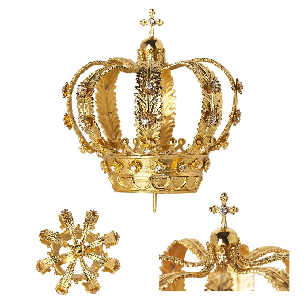 Coroa para Imagem de N. Sra. Aparecida - confeccionada em latão ou prata, com pedras cravejadas
