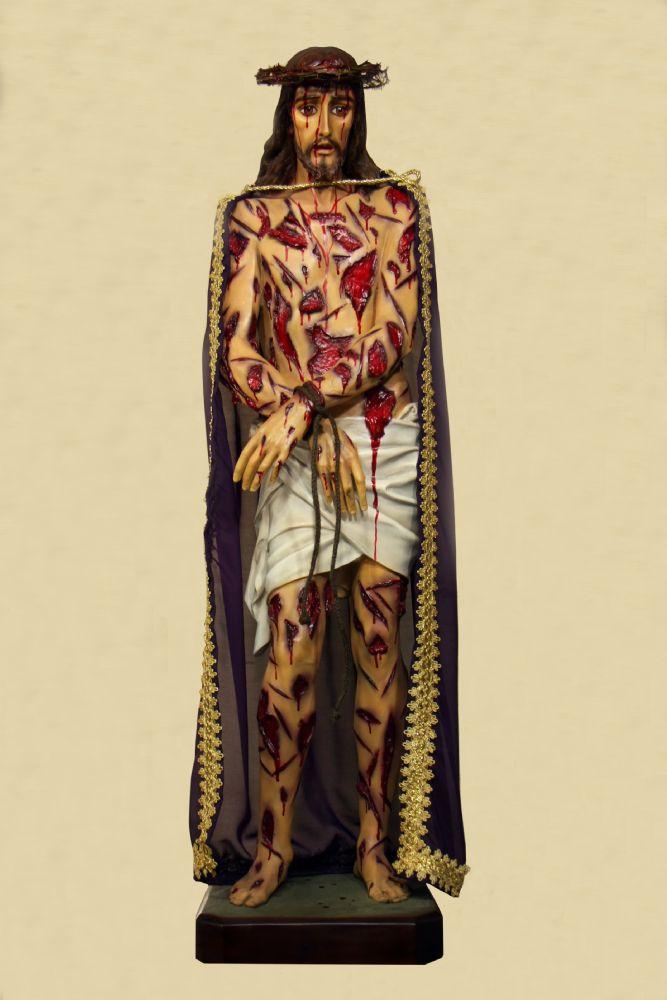 Cristo Flagelado em resina com olhos de vidro - 90cm - com manto e coroa de espinhos removíveis