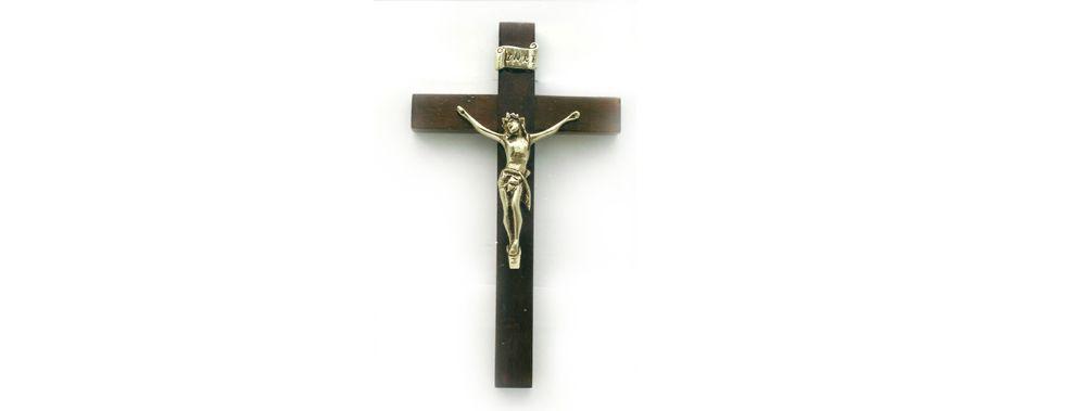 Crucifixo de parede - cruz de madeira - 28x16cm