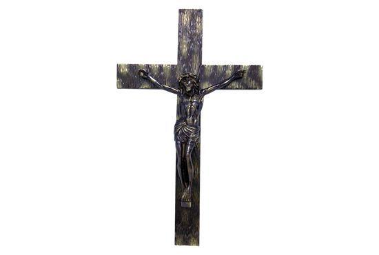 Crucifixo de parede em madeira - 64x35cm