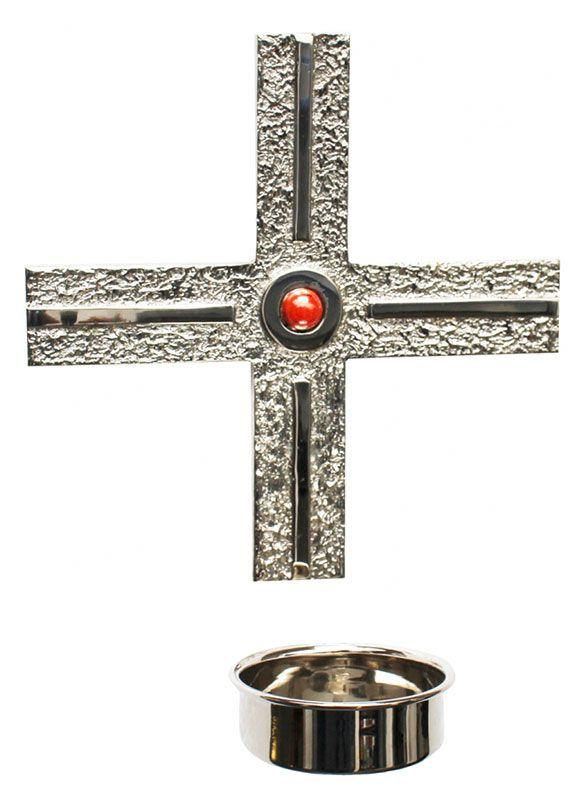 Cruz para Dedicação, confeccionada em latão fundido - dimensões 19,5x10,5cm