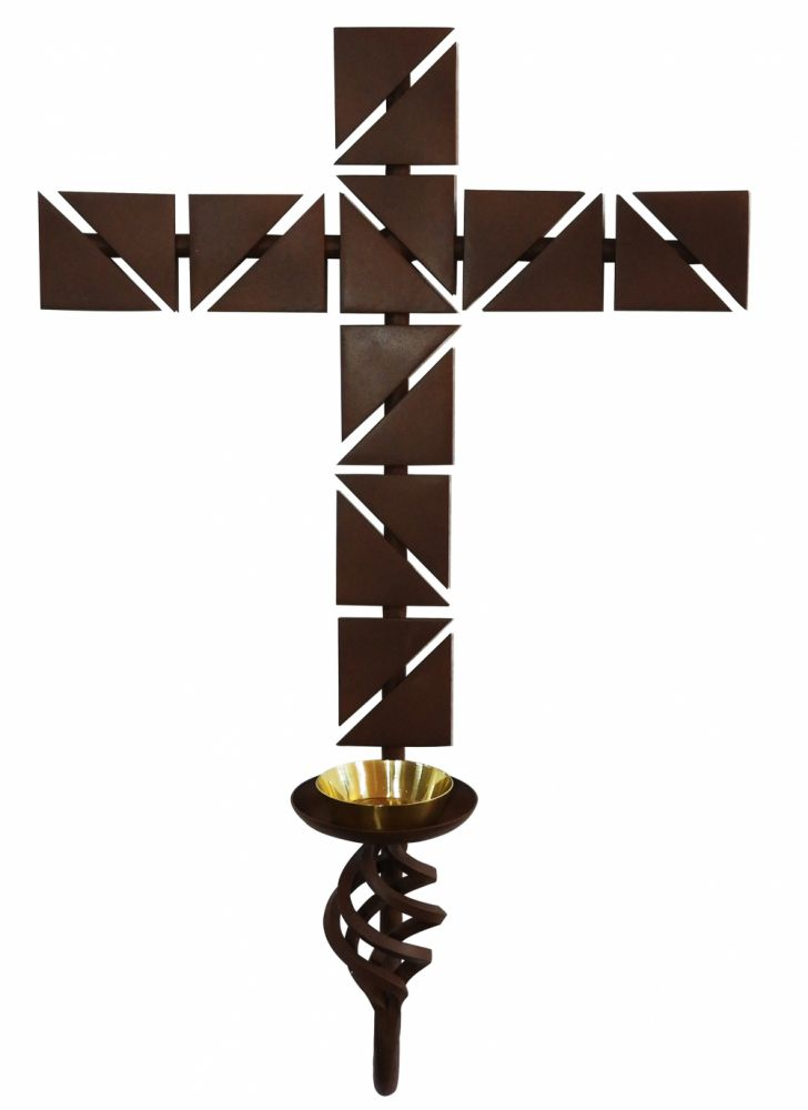 Cruz para Dedicação, confeccionada em aço - dimensões 38x56cm