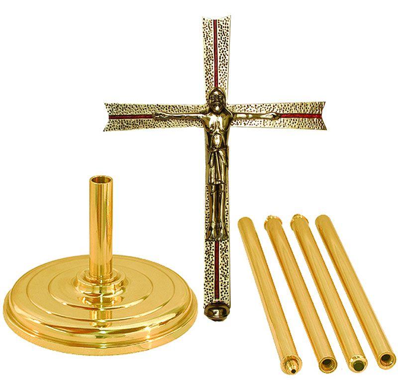 Cruz Processional - confeccionada em latão - medidas 32x230cm