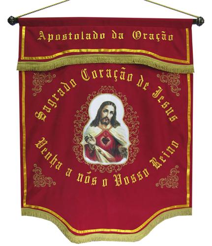 Estandarte apostolado da oração - sagrado coração de jesus - meidas 0,98 x 1,20mt