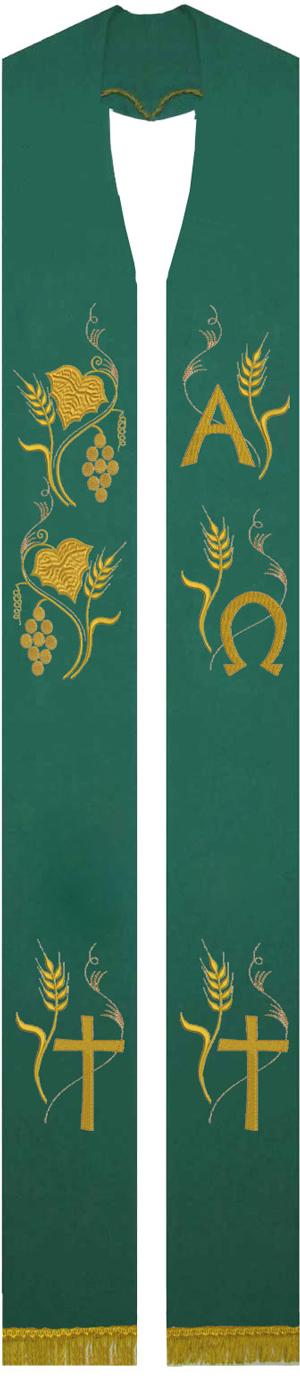 Estola sacerdotal verde bordada com franja - 1 face - com detalhes em dourado - confeccionada em tecido oxford