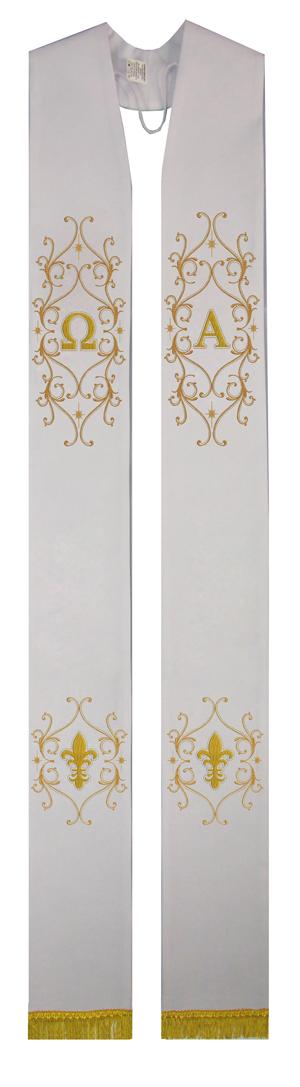 Estola sacerdotal branca bordada com franja - 1 face - com detalhes em dourado - confeccionada em tecido oxford