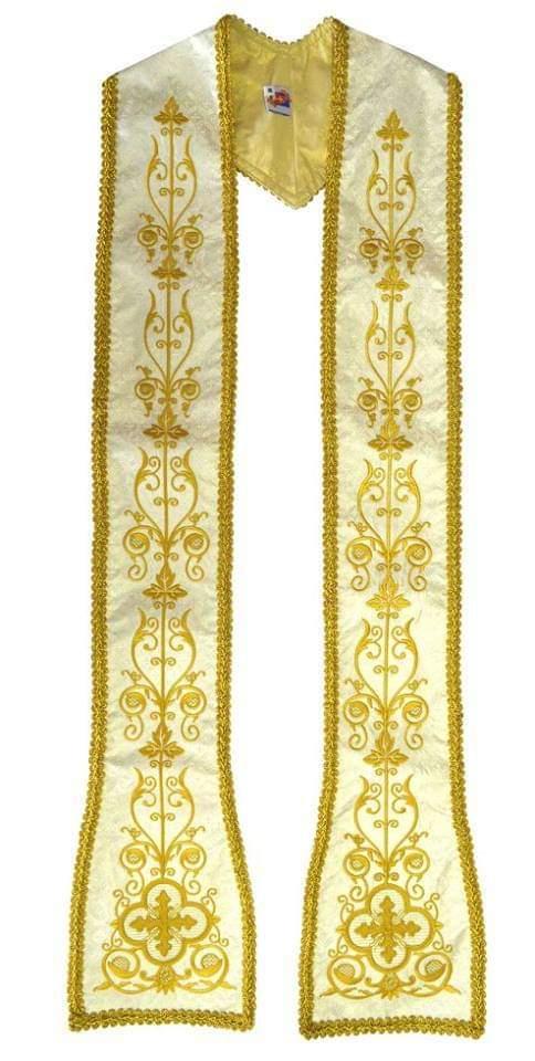 Estola Romana Dourada em Tecido Brocado