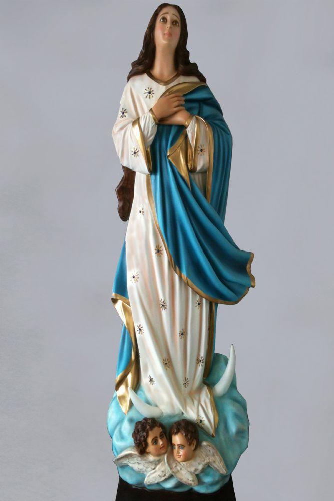 Imaculada Conceição em resina com olhos de vidro - 135cm