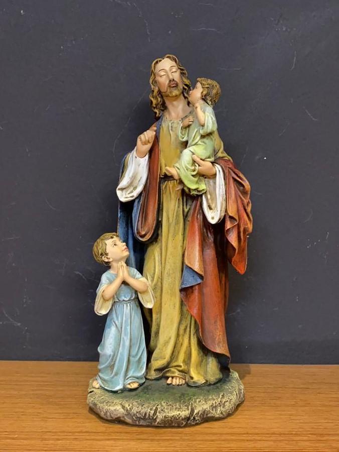 Imagem Jesus abençoando crianças - em resina - 30cm