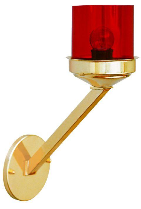 Lâmpada do Santíssimo -  copo de acrílico - haste com 30cm - (acompanha lâmpada de 15 whatts)