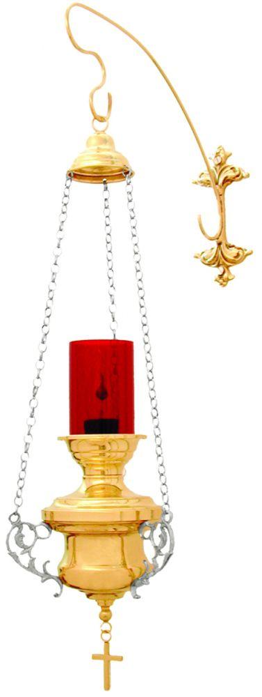 Lâmpada do Santíssimo - modelo classica pequena - copo de acrílico - altura 80cm - (acompanha lâmpada de 15 watts)