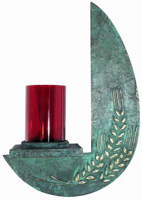 Lâmpada do Santíssimo - modelo Trigo Frontal - copo de acrílico - altura 28cm - (acompanha lâmpada de 15 watts)