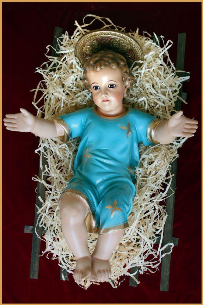 Menino Jesus com manjedoura - 55cm - resina com olhos de vidro - roupa azul