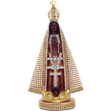 Nossa Senhora Aparecida com pérolas - 15cm - resina