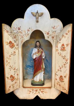 Oratório de madeira para imagem de 30cm