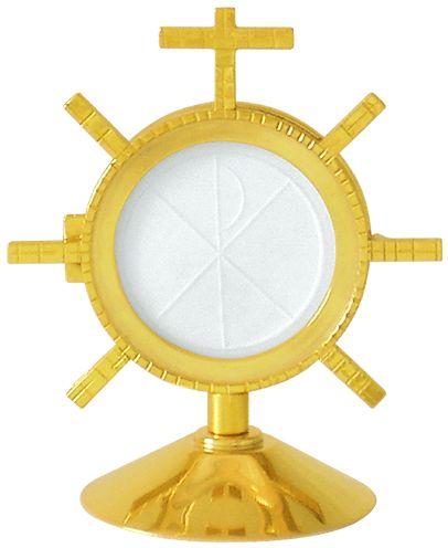 Ostensório com banho de ouro e camada e verniz protetora - altura 15cm - para hóstia de 8cm