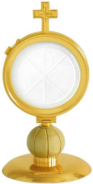 Ostensório com banho de ouro e camada de verniz protetora - altura 17cm - para hóstia de 8cm