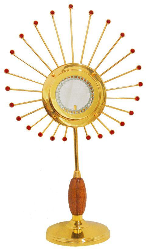 Ostensório modelo Pavão - banho de ouro e camada de verniz protetora - altura 40cm - para Hóstia de 8cm