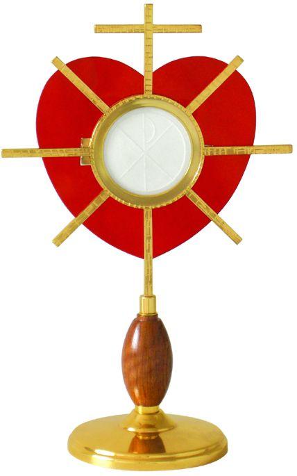 Ostensório modelo Coração - banho de ouro e camada de verniz protetora - altura 33cm - para Hóstia de 8cm