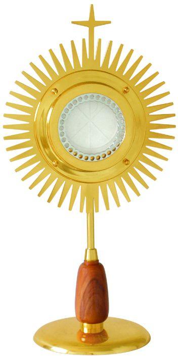 Ostensório modelo Sol, com detalhe em madeira - com banho de ouro e camada de verniz protetora - altura 35cm - para Hóstia de 8cm