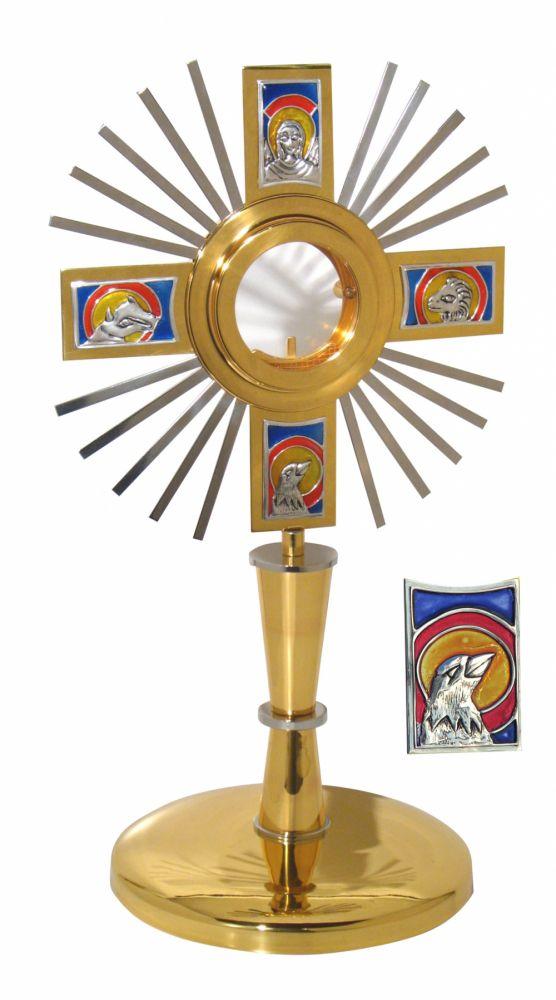 Ostensório  modelo Evangelistas, com raios - banho e ouro e camada de  verniz protetora - altura 47cm - para Hóstia de 8cm