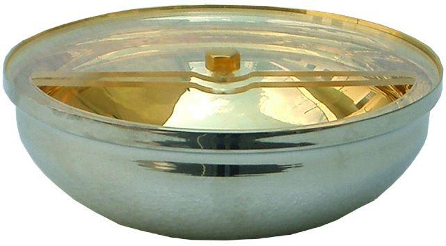 Patena de Consagração com acrílico protetor - capacidade para 400 partículas - medidas 6x17cm