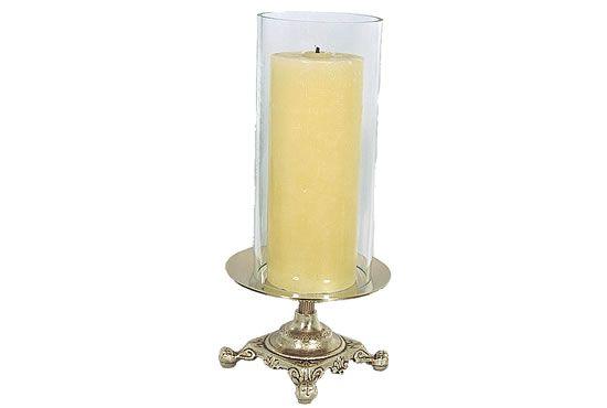 Castiçal com pino - para vela de 7cm de diâmetro - acompanha vidro