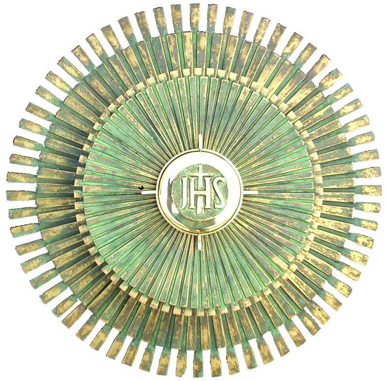 Sacrário de mesa - modelo Sol Grande com Expositor - material latão - dimensões 31,5x31,5x31,5cm