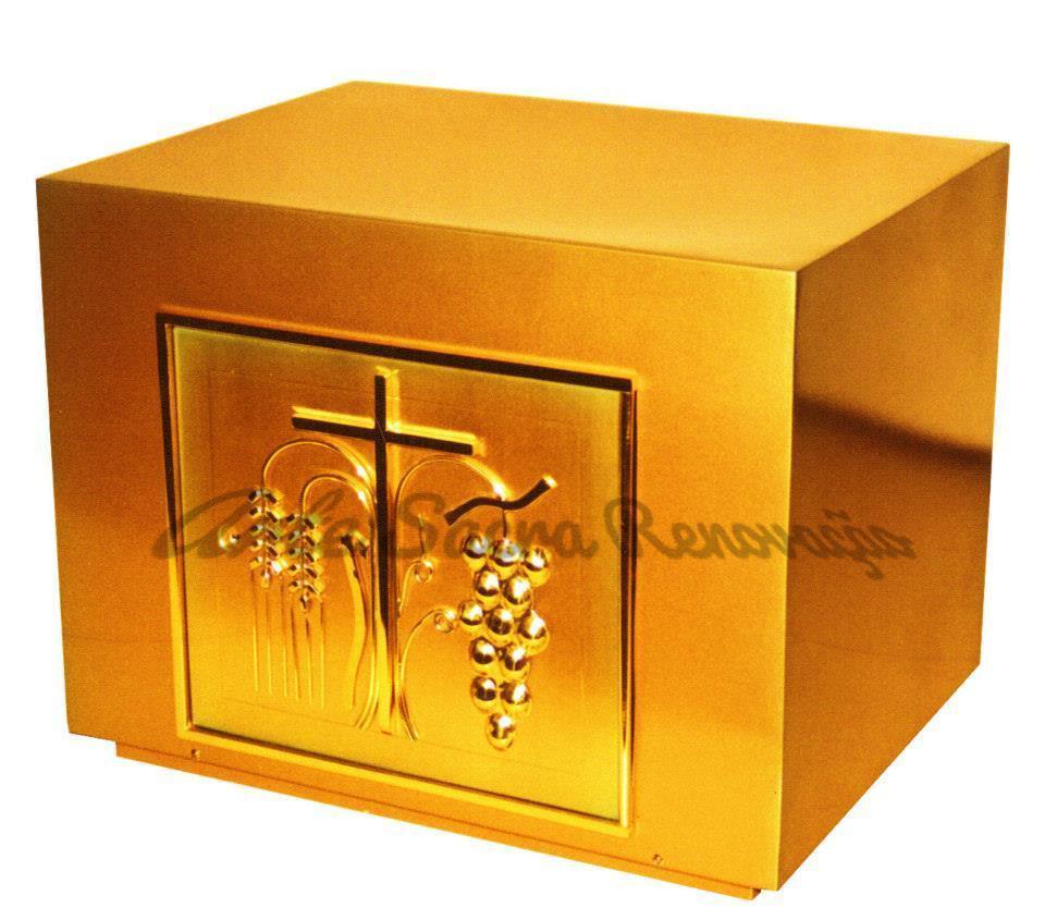 Sacrário de mesa modelo médio retangular- fabricado em latão com banho de ouro