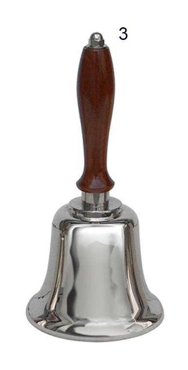 Sino dourado ou niquelado, com cabo de madeira, altura de 20 cm, peso de 0,8 kg