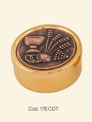 Teca com tampa em cobre envelhecido - dourada